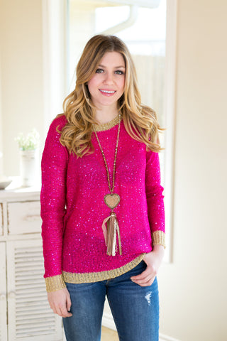 Add Some Sparkle Sequin Sweater with Gold Detailing in Hot Pink