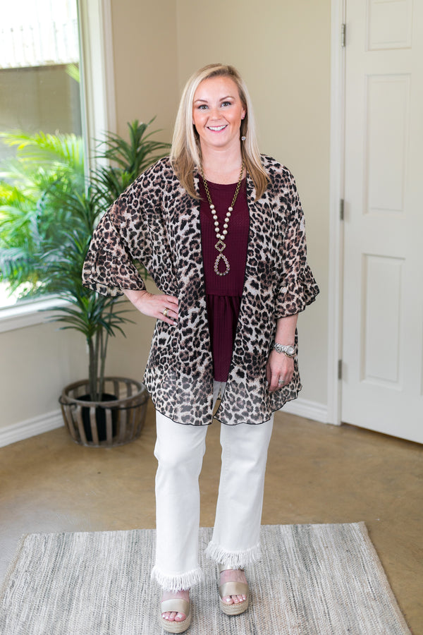 Tell Me About It Sheer Kimono with Ruffle Sleeves in Leopard
