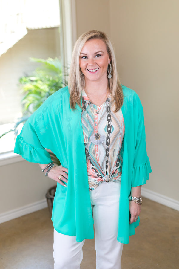 Tell Me About It Sheer Kimono with Ruffle Sleeves in Mint