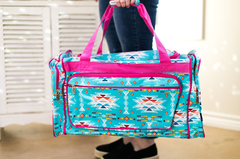 Aztec Overnight Duffel Bag in Turquoise