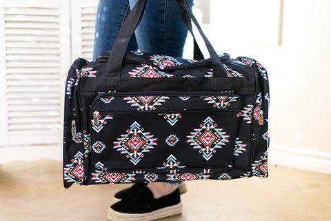 Aztec Overnight Duffel Bag in Black