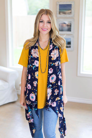 All About It Floral Print Vest in Navy Blue