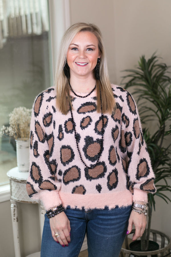 Lasting Impressions Leopard Print Fuzzy Soft Pullover Sweater in Light Pink
