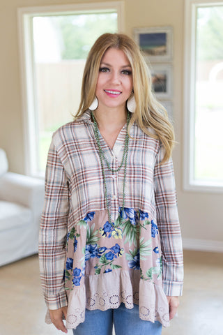 Feelings For Fall Floral and Plaid Button Up Top in Mocha