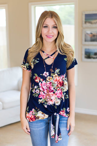 Take It On Floral Side Tie Top with Caged Neckline in Navy Blue