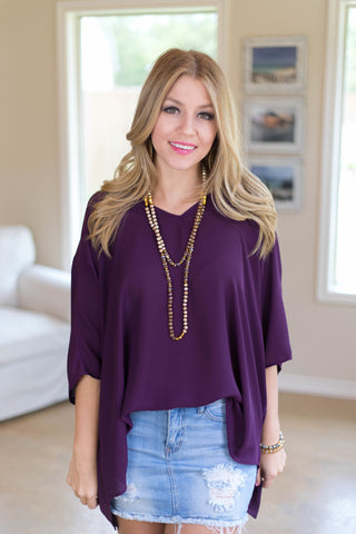 On The Line Sheer Oversized Poncho Top in Purple