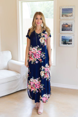 Stopping By Floral Maxi Dress in Navy Blue