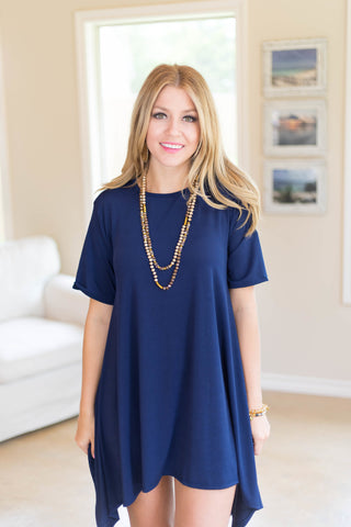 Not A Doubt Asymmetrical Hemline Tunic in Navy Blue