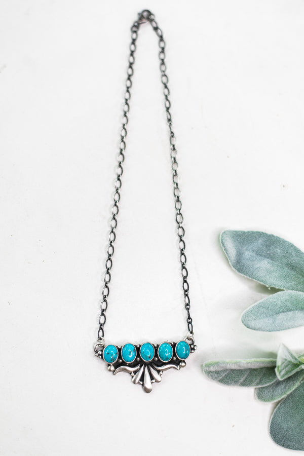 P Yazzie | Sterling Silver Chain Necklace with Silverwork and 5 Turquoise Stones