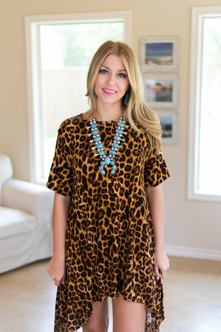Not A Doubt Asymmetrical Hemline Tunic in Leopard