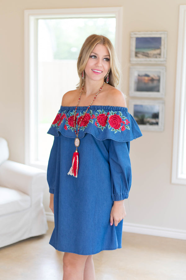 Boutique Ruffled Denim Dresses