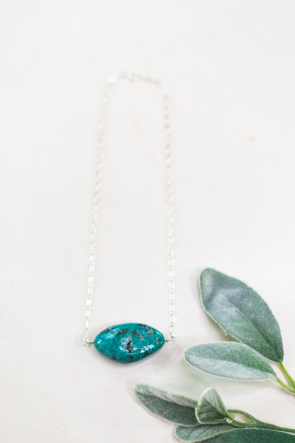 Navajo | Large Turquoise Chunk Stone on Silver Chain Necklace