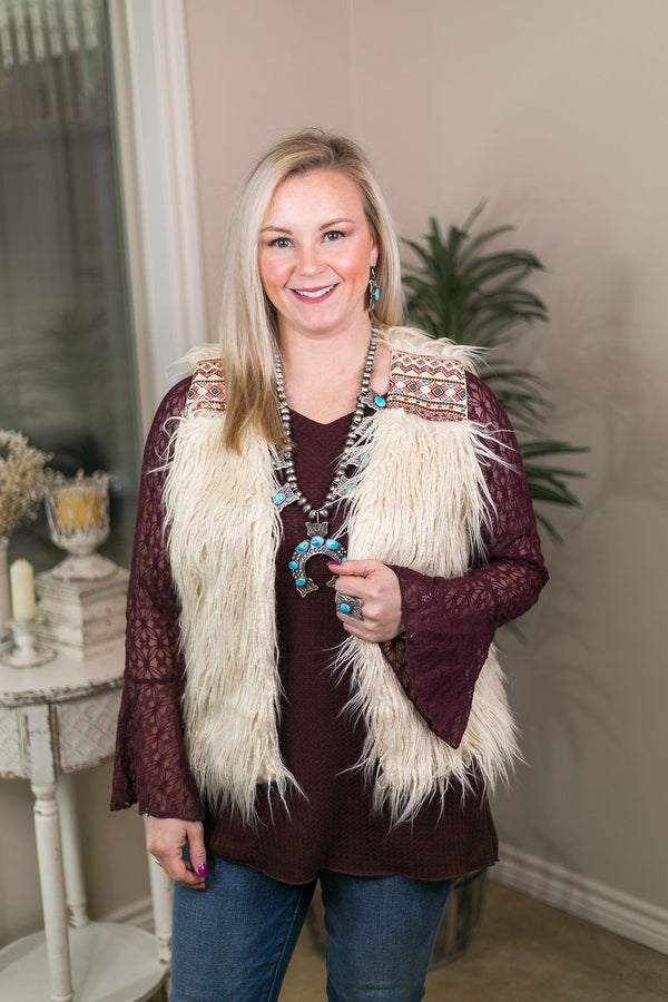 Worth The Hype Faux Fur Vest with Aztec Embroidery in Ivory