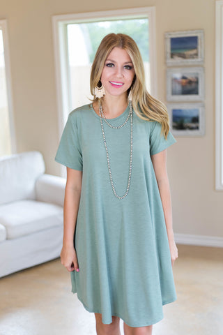 Simplicity is Key Short Sleeve Tee Shirt Dress in Sage Green