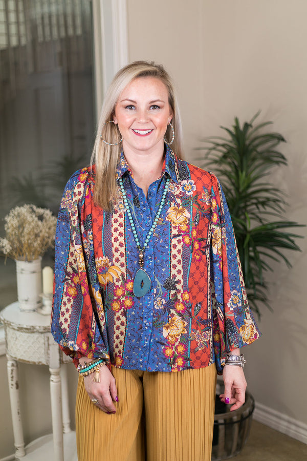 With A Statement Floral Print Button Up Top with Puff Sleeves