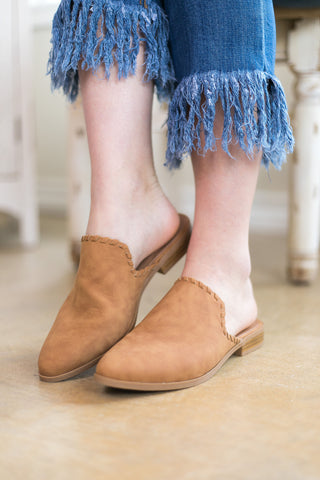 Take Me There Flat Mule Slide In Shoes in Camel