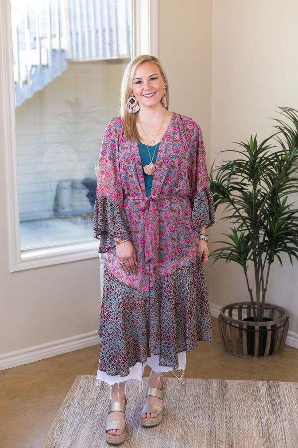 On My Mind Sheer Floral Print Kimono with Leopard Print Trim in Mauve and Teal
