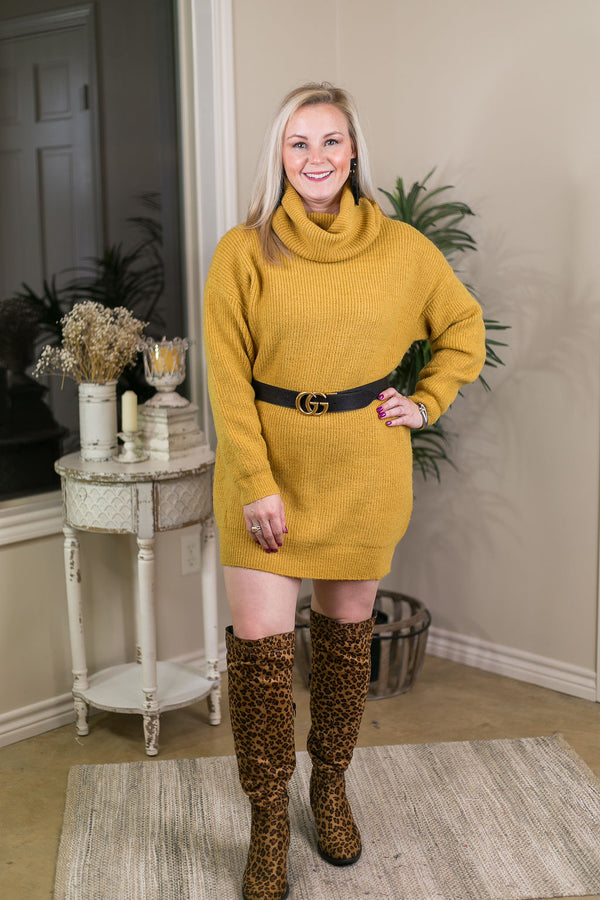 Couldn't Be Better Solid Color Oversized Turtleneck Sweater in Mustard Yellow