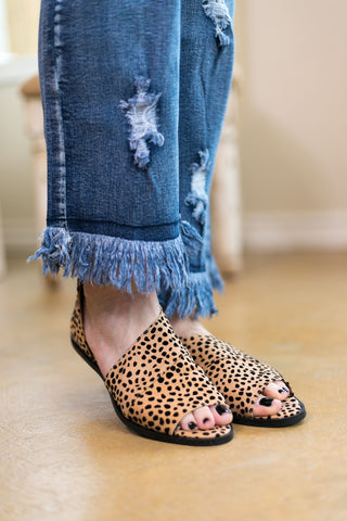 Hard To Miss Side Slit Peep Toe Flats in Leopard