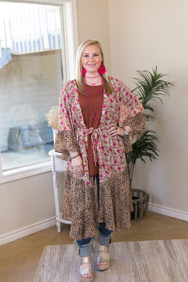 On My Mind Sheer Floral Print Kimono with Leopard Print Trim in Ivory and Pink