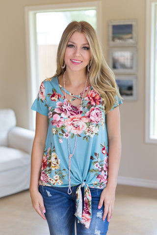 Take It On Floral Side Tie Top with Caged Neckline in Dusty Blue