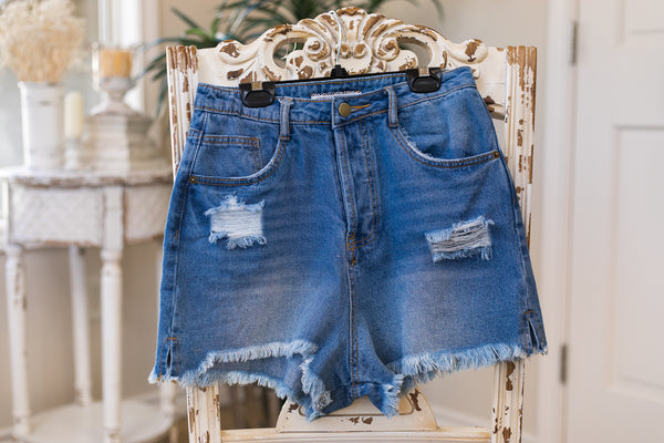 Call It A Day High Waist Distressed Denim Shorts in Medium Wash