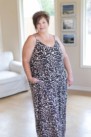 Can't Be Tamed Leopard Print Maxi Dress in Charcoal Grey