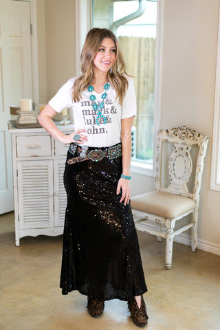 Everlasting Fairytale Sequin Maxi Skirt in Black