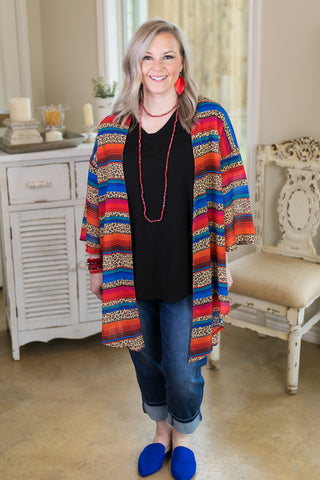 Best of Both Worlds Serape & Leopard Print Kimono