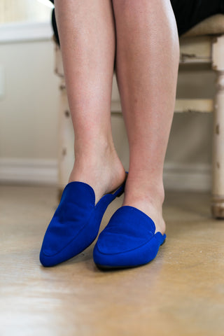 You Got It Flat Mule Slide In Shoes in Cobalt Blue