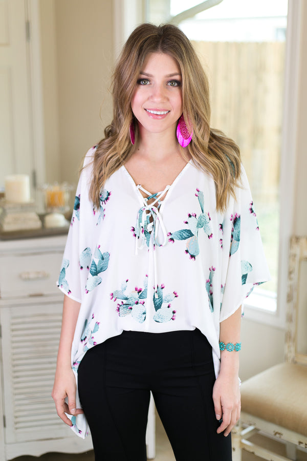 This Is Happiness Oversized Poncho Top with Lace Up Detail in Cactus Print