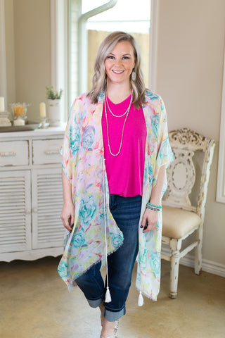 Colors of the Garden Floral Print Kimono in Mint