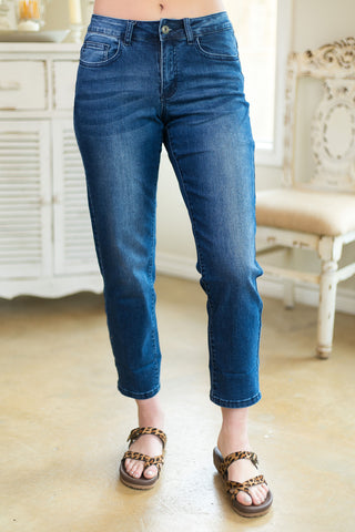 Totally The One Boyfriend Capri Jeans in Dark Wash