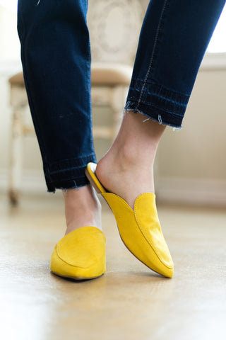 You Got It Flat Mule Slide In Shoes in Yellow
