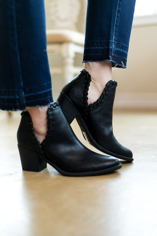Walk Your Walk Side Slit Ankle Booties in Black