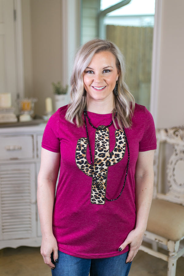 Cactus Queen Leopard Patch Tee in Fuchsia