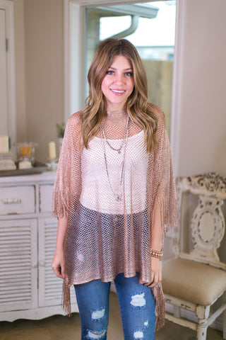 Shimmer Down Metallic Net Poncho Cover Up Top with Fringe in Rose Gold
