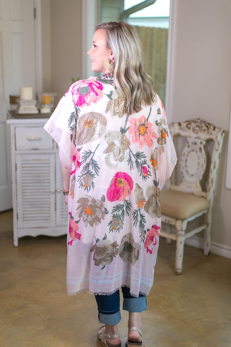 Sweet Temptation Gold Foil Floral Print Kimono in Pink