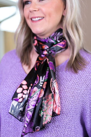 Top of the Tie Paisley and Floral Scarf in Purple & Coral
