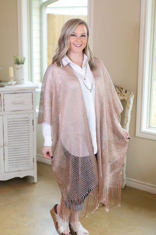 Make It Shine Metallic Net Kimono with Fringe in Rose Gold