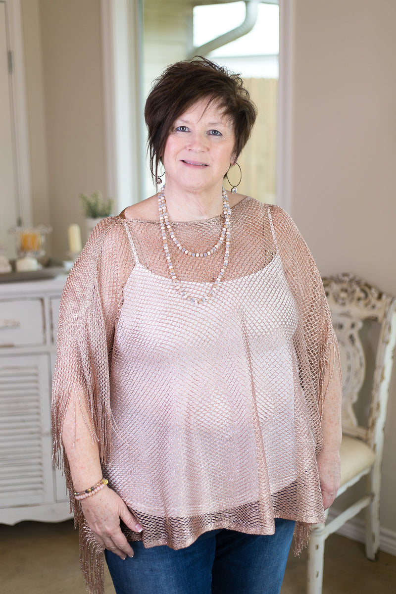 69e5e9e9e2 Shimmer Down Metallic Net Poncho Cover Up Top with Fringe in Rose Gold