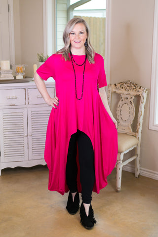 Don't Think Twice High Low Short Sleeve Top in Hot Pink