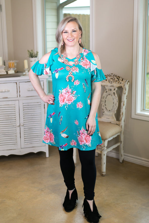 Make My World Go Around Floral Criss Cross Tunic in Turquoise