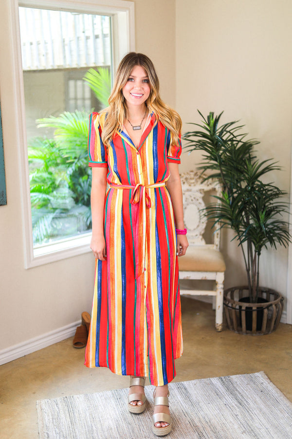 Chasing Rainbows Multi Color Stripe Button Up Midi Dress