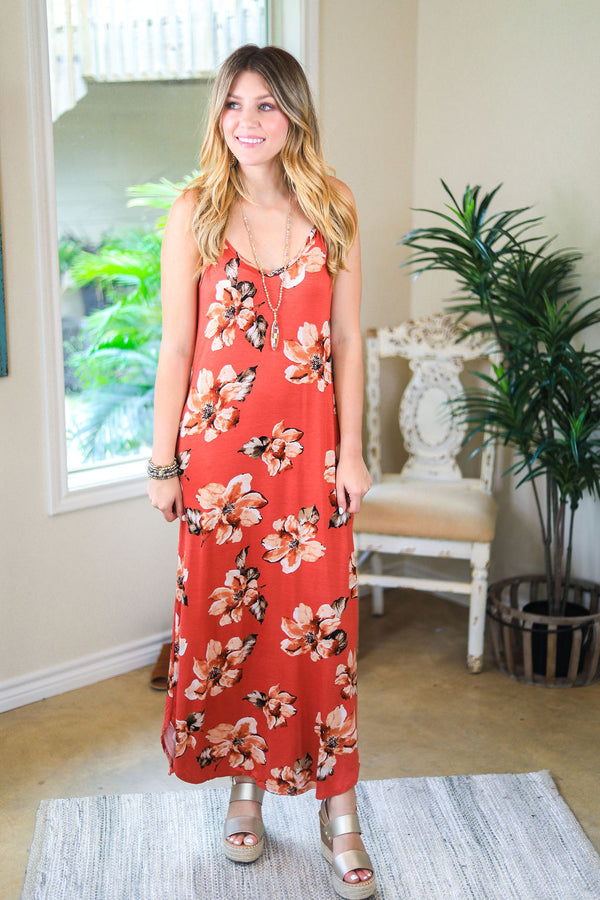 Fresh Approach Hibiscus Floral Maxi Dress in Rust spaghetti strap rust red floral