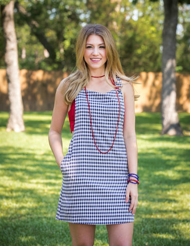 American Dream Gingham Overall Jumper Dress in Navy