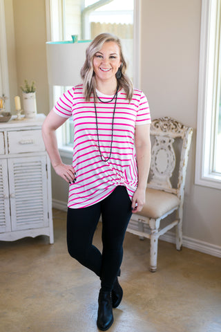 All Tied Up Stripe Short Sleeve Top with Side Knot in Hot Pink