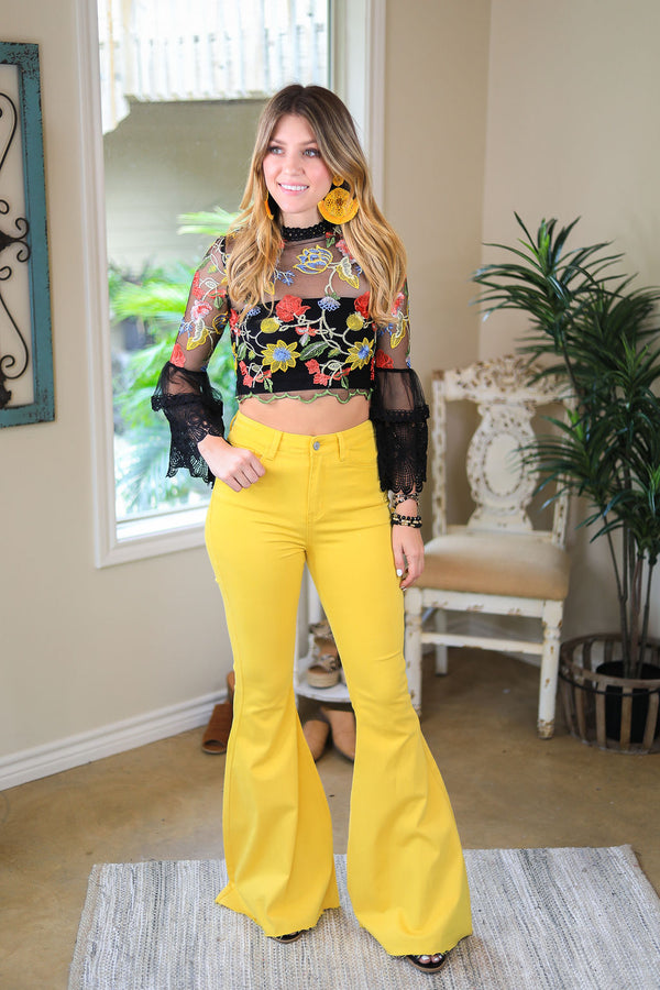 Judy Blue | Won't Forget Her Super Flare Raw Hem Jeans in Mustard Yellow
