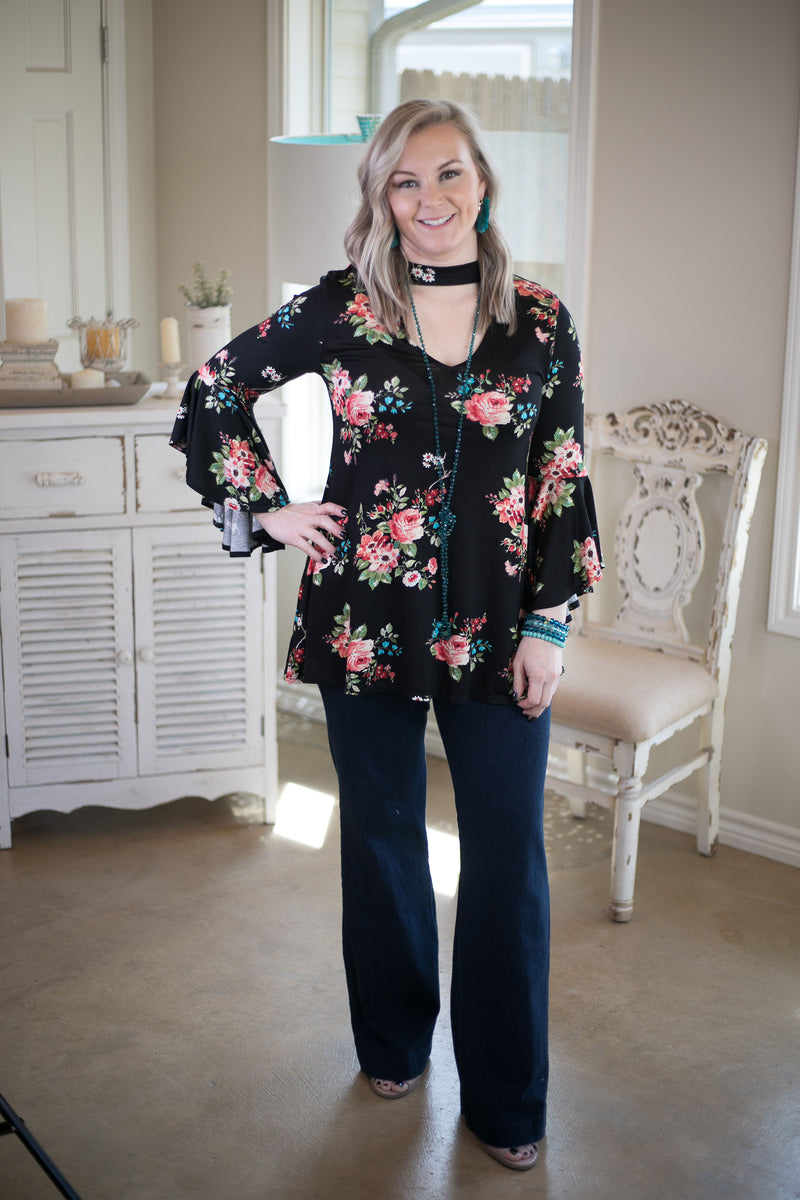 Love Philosophy Floral Print Bell Sleeve Top with Keyhole Cutout in Black