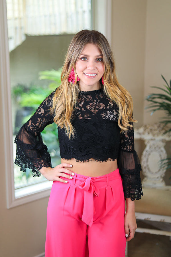 I'm All In Floral Lace Crop Top with Bell Sleeves in Black